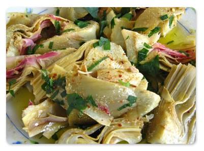 Shiratakis de Konjac en verdure aux cœurs d'artichauts