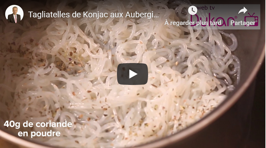 Tagliatelles de Konjac aux Aubergines et à la Mangue (Recette Dukan)