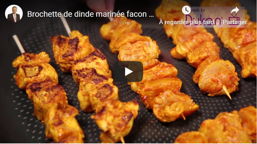 Brochette de dinde marinée facon kebab (Recette Dukan)
