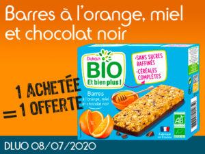 1 achetée Barres à l'orange, miel et chocolat noir BIO = 1 offerte