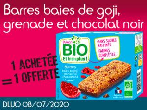 1 Achetée BIO Barres baies de goji, grenade et chocolat noir = 1 offerte