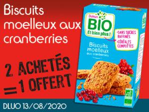 2 Achetés BIO Biscuits moelleux aux cranberries = 1 offert