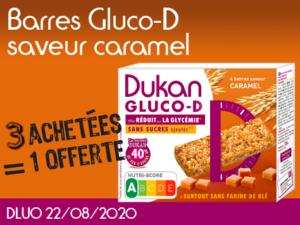 3 Achetées barres Gluco-D saveur caramel = 1 offerte