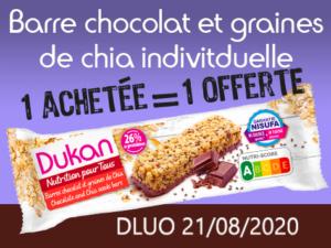 1 Achetée Barre au chocolat et graines de chia individuelle = 1 offerte