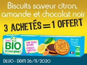 3 achetés Biscuits saveur citron, amande et chocolat noir = 1 offert