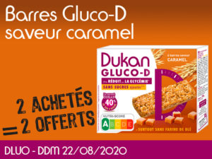 2 Achetés barres Gluco-D saveur caramel = 2 offerts