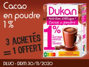3 achetés Cacao en poudre 1% de MG et 1% de sucres = 1 offert