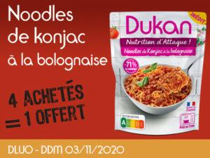 4 achetés Noodles de konjac à la bolognaise = 1 offert