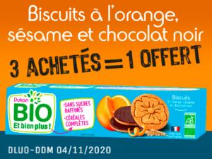 3 achetés Biscuits à l'orange, sésame et chocolat noir = 1 offert