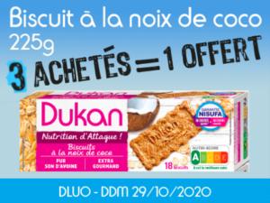 3 achetés Biscuits à la noix de coco 225g = 1 offert