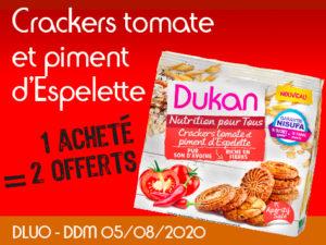 1 acheté Crackers tomate et piment d'Espelette = 2 offert