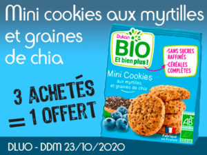 3 achetés BIO Mini cookies aux myrtilles et graines de chia = 1 offert