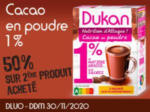 -50% Cacao en poudre 1% de MG et 1% de sucres