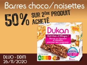 -50% barres au chocolat et noisettes
