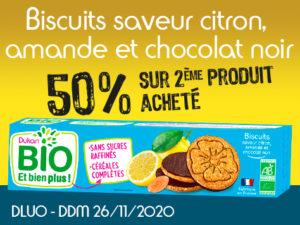 -50% Biscuits saveur citron, amande et chocolat noir
