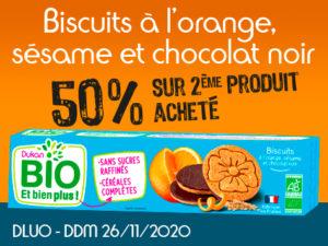 -50% Biscuits à l'orange, sésame et chocolat noir