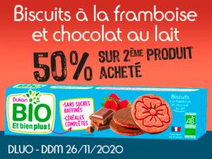 -50% Biscuits tendre à la framboise et chocolat au lait