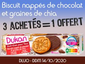 3 achètes Biscuits nappés de chocolat et graines de Chia = 1 offert