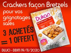 3 achetés Crackers façon bretzels = 1 offert