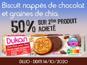 -50% Biscuits nappés de chocolat et graines de Chia