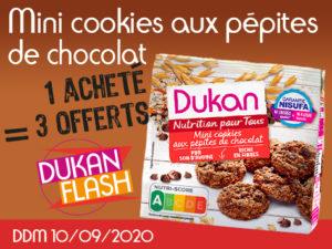 DUKAN FLASH ANTI GASPI : 1 acheté Mini cookies aux pépites de chocolat = 3 offerts