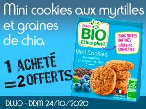 1 acheté BIO Mini cookies aux myrtilles et graines de chia = 2 offerts