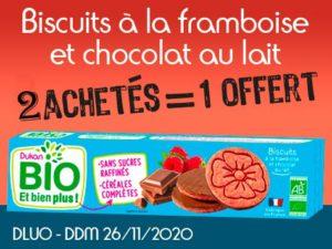 2 achetés Biscuits tendre à la framboise et chocolat au lait = 1 offert