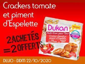 2 achetès Crackers tomate et piment d'Espelette = 2 offert