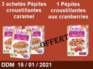3 acheté Pépites croustillantes saveur choco-caramel = 1 offert Pépites croustillantes aux cranberries