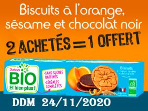 2 achetés Biscuits à l'orange, sésame et chocolat noir = 1 offert