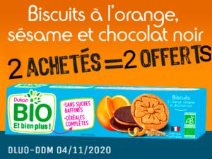 2 achetés Biscuits à l'orange, sésame et chocolat noir = 2 offert