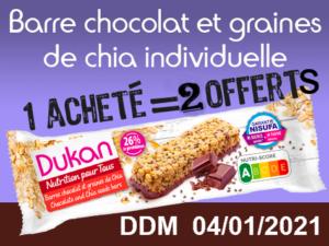 1 acheté Barre au chocolat et graines de chia individuelle = 2 offerts