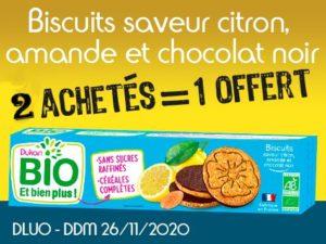 2 achetés Biscuits saveur citron, amande et chocolat noir = 1 offert