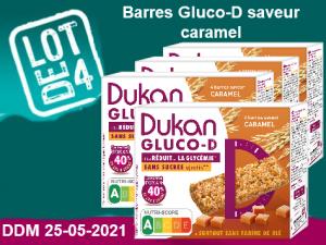 LOT DE 4 barres Gluco-D saveur caramel DDM 25/05/2021