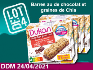 lot de 4 Barres au de chocolat et graines de Chia