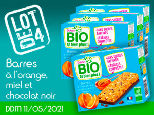 Lot de 4 Barres à l'orange, miel et chocolat noir