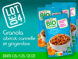 Lot de 4 Granola à l'abricot, cannelle et gingembre DDM 05/05/2021