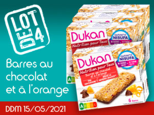 Lot de 4 Barres au chocolat et à l'orange DDM 15/05/2021