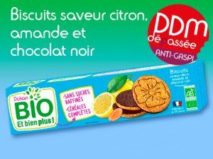 Anti-Gaspillage Biscuits saveur citron, amande et chocolat noir DDM 20-07-2021