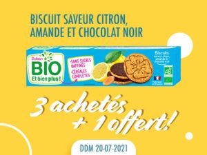 Lot de 4 Biscuits saveur citron, amande et chocolat noir DDM 20-07-2021