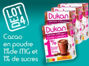 Lot de 4 Cacao en poudre 1% de MG et 1% de sucres