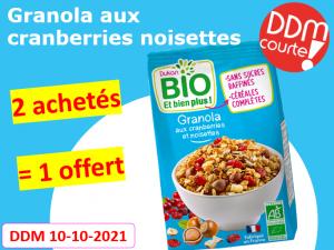 Lot de 3 Granola aux cranberries et noisettes DDM 10-10-2021