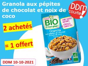 Lot de 3 Granola aux pépites de chocolat et noix de coco DDM 10-10-2021