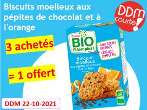 Lot de 4 Biscuits moelleux aux pépites de chocolat et à l'orange DDM 22-10-2021