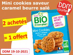 Lot de 3 Mini cookies saveur caramel beurre salé DDM 19-10-2021